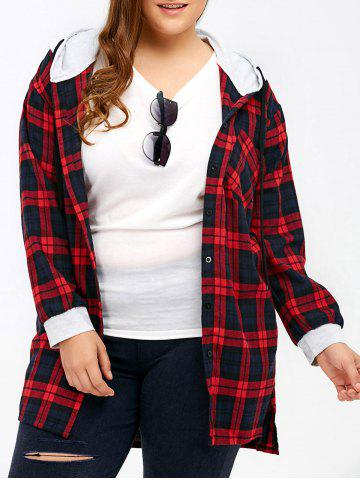 Hot Plus Size Hooded Plaid Long Flannel Shirt