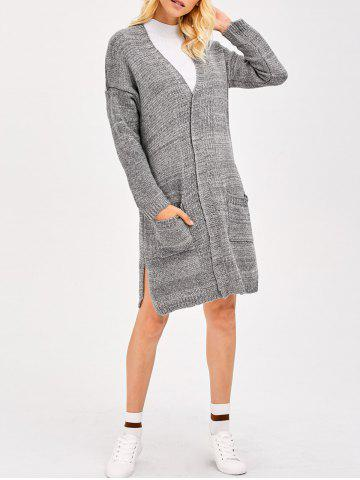 Hot Drop Shoulder Knit Long Cardigan With Pocket GRAY ONE SIZE