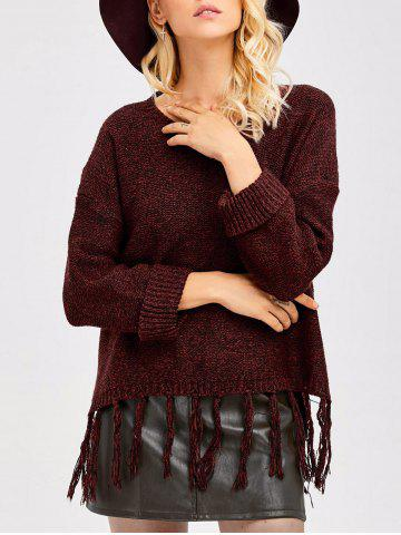 Trendy Tassel Drop Shoulder High Low Sweater WINE RED ONE SIZE
