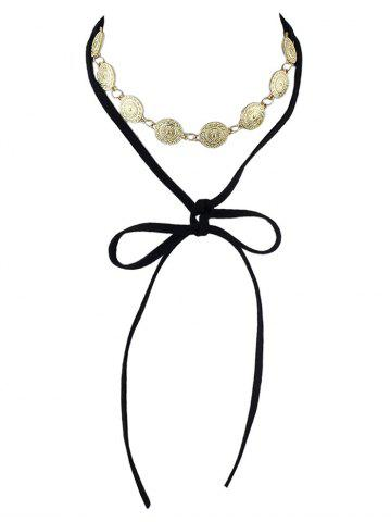 Chic Alloy Coin Velvet Drawstring Necklace BLACK