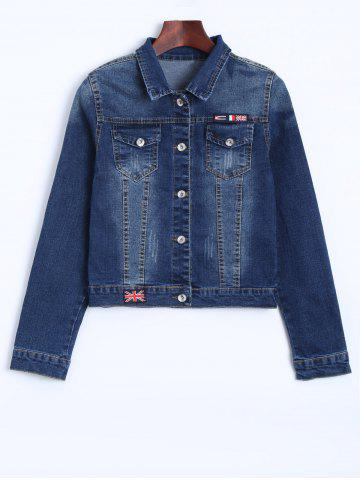 Online The Union Flag Spliced Cropped Jean Jacket