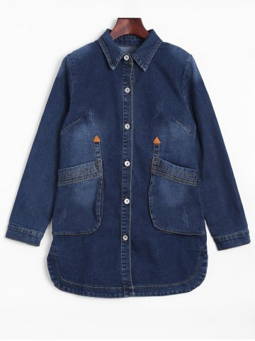 Affordable Fitted Long Casual Denim Jean Jacket with Sleeves