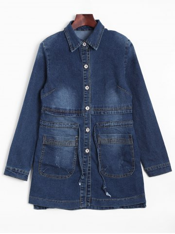 Affordable Faded Drawstring Long Jean Jacket DEEP BLUE L