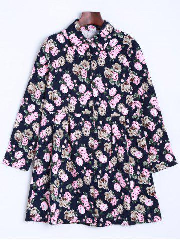 Hot Long Sleeve Floral Shirt Dress