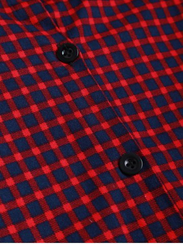 Trendy Short Checked A Line Shirt Dress - ONE SIZE DARK RED Mobile
