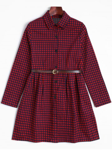 Cheap Short Checked A Line Shirt Dress - ONE SIZE DARK RED Mobile