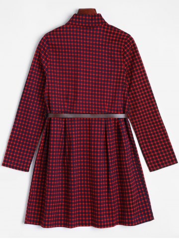 Outfit Short Checked A Line Shirt Dress - ONE SIZE DARK RED Mobile