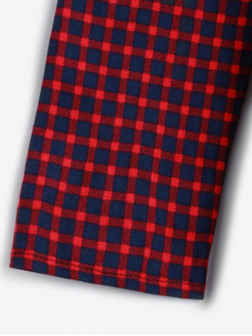 Shop Short Checked A Line Shirt Dress - ONE SIZE DARK RED Mobile