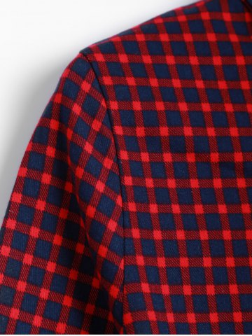 Fancy Short Checked A Line Shirt Dress - ONE SIZE DARK RED Mobile
