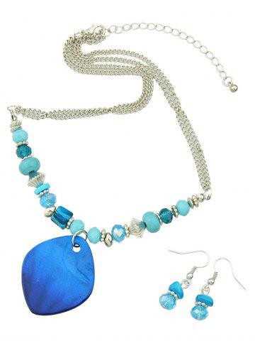 Latest Turquoise Faux Crystal Jewelry Set - BLUE  Mobile