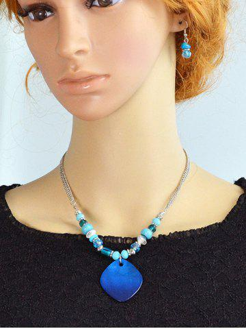 Online Turquoise Faux Crystal Jewelry Set - BLUE  Mobile