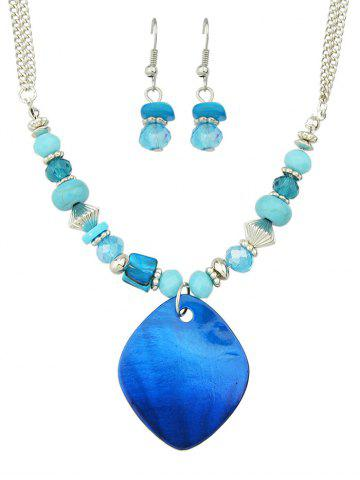 Sale Turquoise Faux Crystal Jewelry Set - BLUE  Mobile