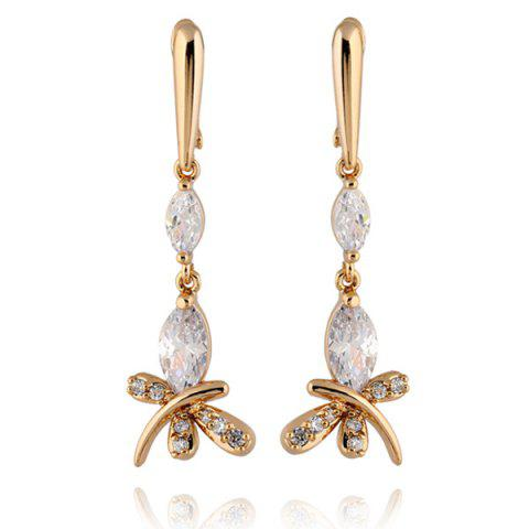 Shops Stylish Zircon Butterfly Dangle Earrings WHITE