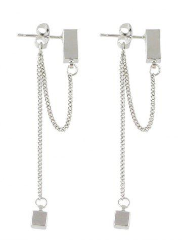 Trendy Cube Layered Chain Drop Earrings SILVER
