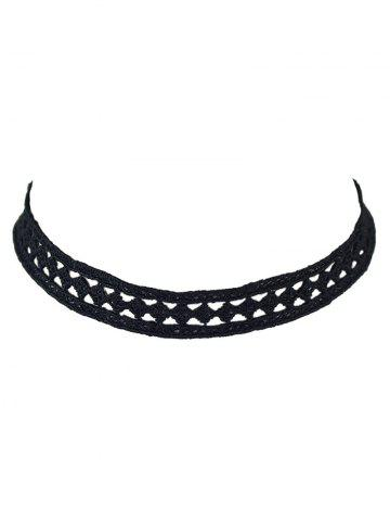 Trendy Geometry Hollow Out Lace Choker Necklace BLACK