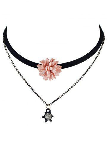 Discount Double Layers Velvet Floral Choker Necklace PINK
