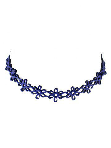 Unique Hollow Flower Choker Necklace BLUE
