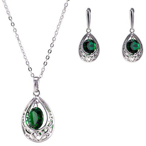 New Teardrop Fake Emerald Jewelry Set