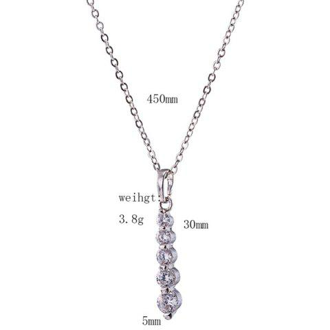 Trendy Alloy Beading Rhinestone Pendant Necklace Set - SILVER  Mobile