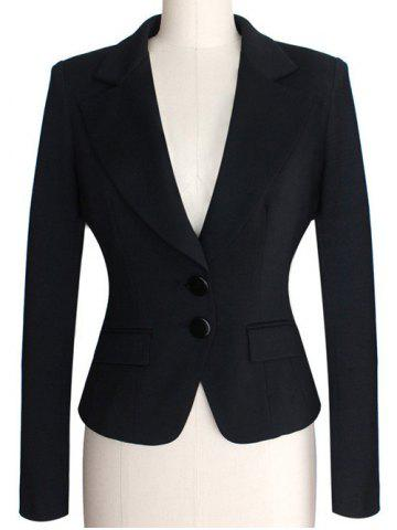 Two Buckle Slim Fit Short Peplum Blazer - Black - Xl