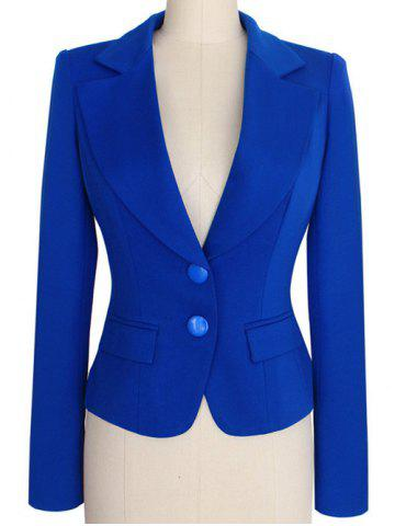 Trendy Two Buckle Slim Fit Short Peplum Blazer