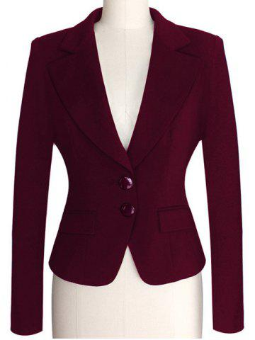 Two Buckle Slim Fit Short Peplum Blazer - Purplish Red - S