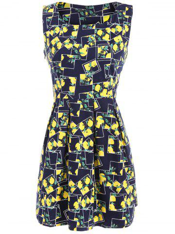 Store Lemon Print Fit and Flare Dress