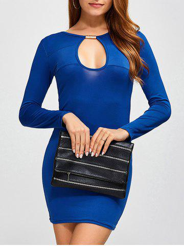 Hot Mini Cut Out Bodycon Dress BLUE 2XL