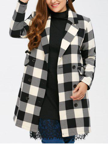 Manteau Tartan Plaid double boutonnage Noir Plaid 2XL