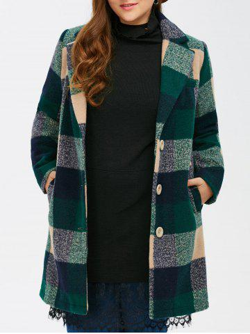 Sale Woolen Single Breasted Tartan Plaid Coat