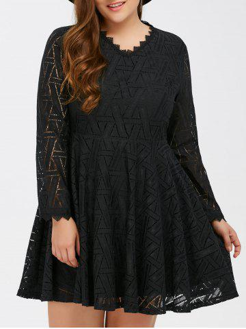 Unique Plus Size Lace Long Sleeve Skater Dress - 2XL BLACK Mobile