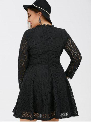 Outfits Plus Size Lace Long Sleeve Skater Dress - 2XL BLACK Mobile