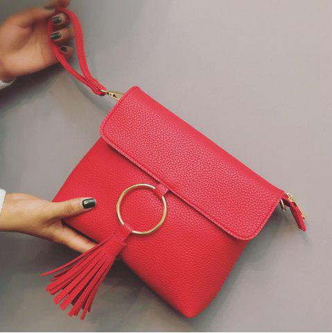 Store Metal Ring Tassels Magnetic Closure Crossbody Bag