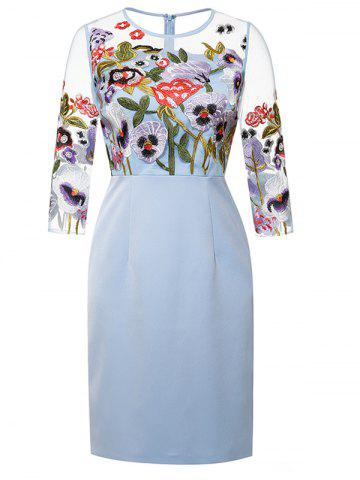 New Semi Sheer Flower Embroidered Pencil Dress
