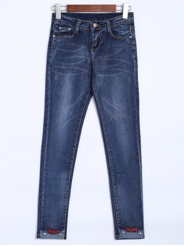 Fashion High Rise Embroidered Hem Jeans