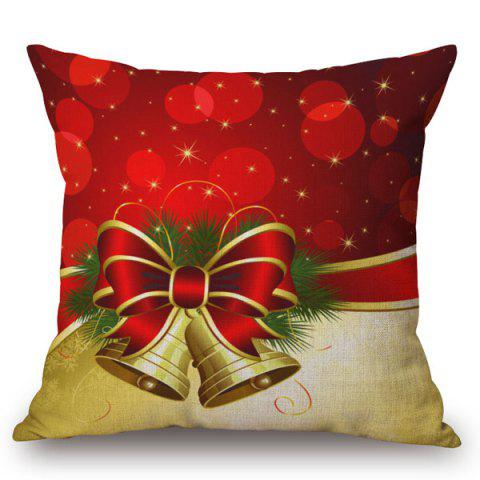 New Holiday Christmas Bell Printed Pillow Case RED