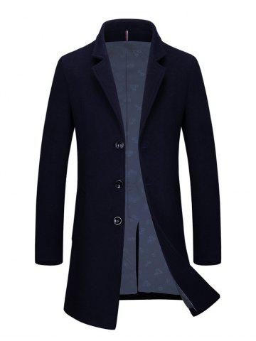 Fashion Slim Fit Single Breasted Lapel Wool Blend Coat