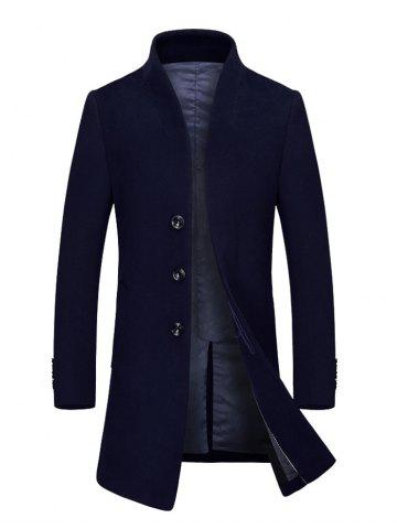 Cheap Stand Collar Single Breasted Wool Blend Coat CADETBLUE 3XL