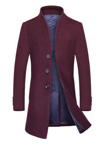 Stand Collar Single Breasted Wool Blend Coat - Burgundy - M