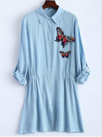 Affordable Long Sleeve Plus Size Butterfly Embroidered Elastic Waist Shirt LIGHT BLUE XL