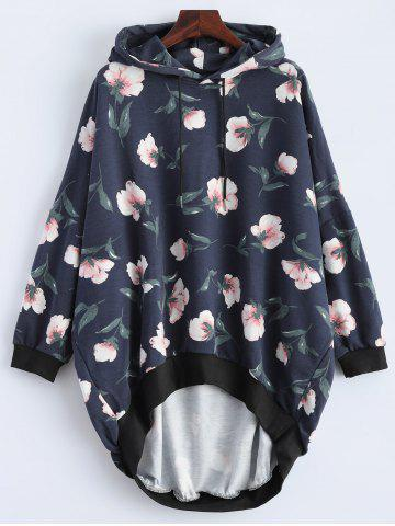 Loose Fit Floral Print High Low Hoodie - Deep Blue - L