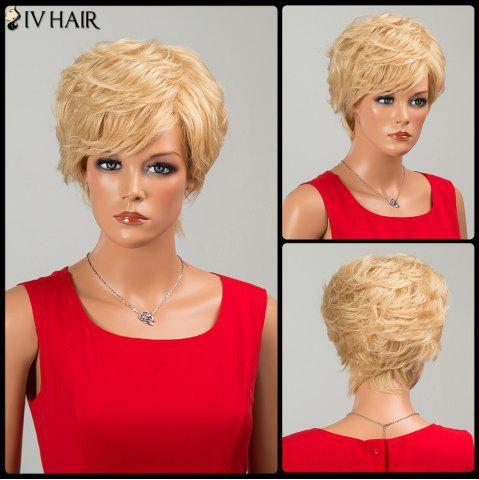 New Siv Hair Fluffy Short Side Bang Layered Curly Human Hair Wig