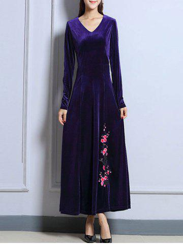 Outfits Velvet Long Sleeve Maxi Prom Evening Dress
