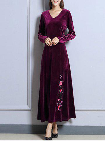 Sale Vintage Velvet Full Sleeved Maxi Prom Dress PURPLISH RED XL