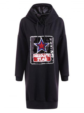 Store Casual Star Sequins Plus Size Hoodie Dress