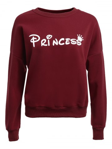 Trendy Long Sleeve Loose Fitted Letter Pattern Sweatshirt WINE RED L