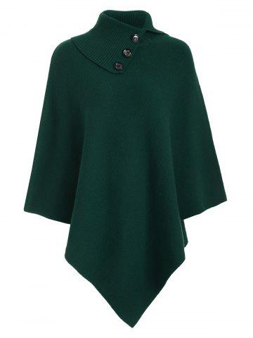 Knitted Convertible Neck Asymmetric Cape - Green - One Size