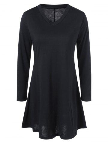 Mini Long Sleeve V Neck Fit and Flare Dress