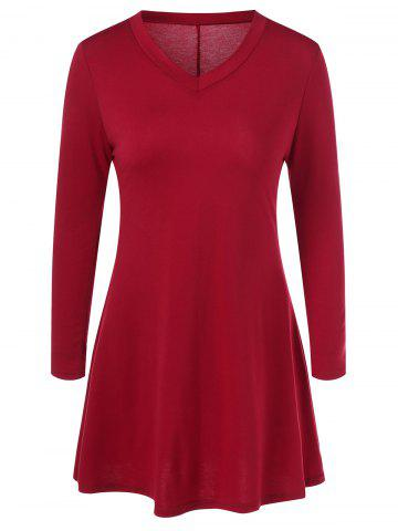 Store Mini Long Sleeve V Neck Fit and Flare Dress RED XL