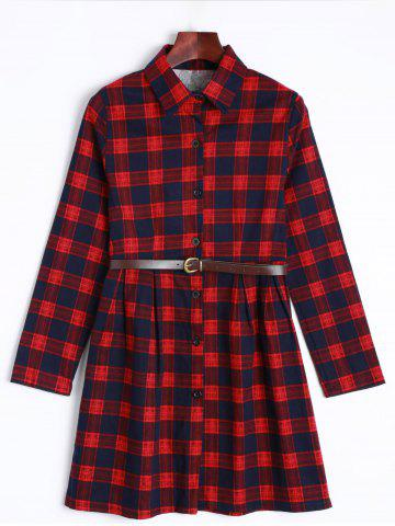 Sale Long Sleeve Checked Dress With Belt